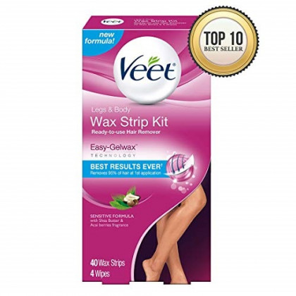 Veet Leg & Body Hair Removal Kit- Sensitive Formula, Ready-to-use Cold Wax Strips, Shea Butter & Acai Fragrance, 40 Count (Pack of 3)