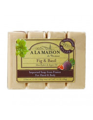 A La Maison Soap Bars, Fig & Basil, Value Pack 3.5 oz, 4 Count