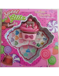 Sweet Glitz - Kids Pretend Play Makeup Kit - Designer Girls Makeup Palette for Kids - Packed In a Cute Cupcake Printed Vanity w/ Mirror- Non-Toxic and Washable