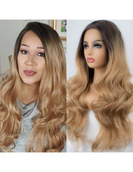 K'ryssma Ombre Blonde Synthetic Lace Front Wigs Dark Roots Long Wavy Heat Resistant 2 Tones Ombre Synthetic Wig for Women 24 inches