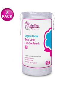 Maxim Organic Cotton Makeup Remover Rounds, 100ct, No Chlorine/Dioxin/Chemical, FDA/ICEA Approved, Biodegradable, Hypoallergenic, Gentle Touch, Extra Large Size Cotton Pads, 2 Packs of 50