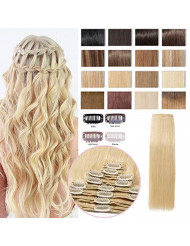 """S-noilite 22"""" Thicken Clip in Hair Double Weft 100% Real Human Hair Made 160grams Long Straight Clip in Human Hair Extensions Bleach Blonde 8pcs per pack for Full Head #613"""