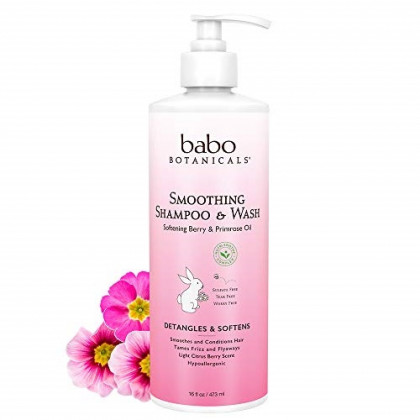 Babo Botanicals Smoothing 2-in-1 Shampoo & Wash with Natural Berry and Evening Primrose oil, Hypoallergenic, Vegan, For Babies and Kids - 16 oz.