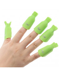 Useful 10Pcs Plastic Acrylic Nail Art Soak Off Clip UV Gel Polish Remover Cap Wrap Tool (Green)