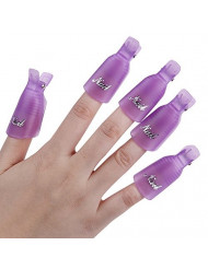 Useful 10Pcs Plastic Acrylic Nail Art Soak Off Clip UV Gel Polish Remover Cap Wrap Tool (Purple)
