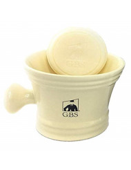 GBS Ivory Shaving Mug with Knob Handle and Ocean Driftwood Soap 3 0z - Great to Pair with Any Shave Set!