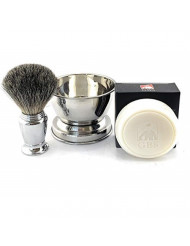 GBS Men's Wet Shaving Set - Chrome Pure Badger Shave Brush, Stainless Soap Bowl, Driftwood Natural Shave Soap Compliments Any Shaving Razor & Barber Tools. Wide Cup Produces Rich Lather (Without Lid)