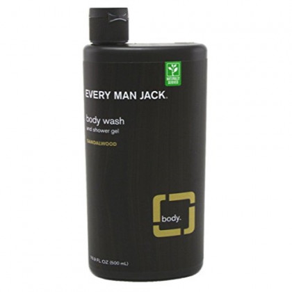 Every Man Jack Body Wash And Shower Gel 16.9 Ounce Sandalwood (499ml) (3 Pack)