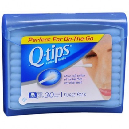 Q, Tips Cotton Swabs, 30 ct, Travel Size Purse ct (Quantity of 5)