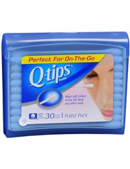Q-tips Swabs Purse Pack 30 Each (Pack of 8)