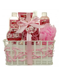 Valentine's Bath and Body - Spa Gift Baskets for Women & Girls, Cherry Fragrance, Spa Kit Birthday Gift Includes Loofah Sponge, Bath Salt, Body Lotion, Soap Rose, Body Mist, Shower Gel And Bubble Bath