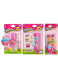 Shopkins 10 Press-on Nails with Cupcake Chic Nail File / 1 Nail Polish with Nail Stickers / 1 Donut Lip Balm with Stickers