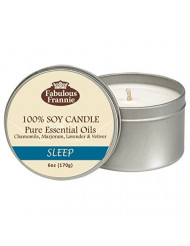 Fabulous Frannie Sleep All Natural Soy 6oz Travel Tin Candle made with Pure Essential Oils Chamomile, Marjoram, Bulgarian Lavender and Vetiver