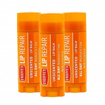 O'Keeffe's Unscented Lip Repair Lip Balm for Dry, Cracked Lips, Stick, (Pack of 3)