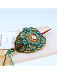 BEAUTIFUL Beaded Hair Barrette with Wood Stick (Turquoise)