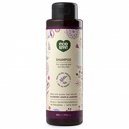 ecoLove - Natural Shampoo for Color Treated Hair & Dry Damaged Hair with Organic Blueberry Grape & Lavender Vegan Shampoo for Women & Men Cruelty Free SLS Free, 17.6 oz