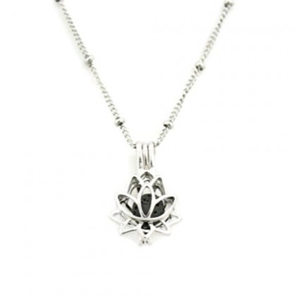 """Glory Lotus Flower Silver Essential Oil Diffuser Necklace- 18"""""""