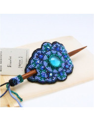 BEAUTIFUL Beaded Hair Barrette with Wood Stick (Blue)