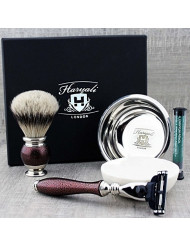 Haryali London 5Pc Mens Grooming & Shaving Kit 3 Edge Razor With Silver Tip Badger Hair Shaving Brush, Bowl, Soap and Alum Perfect Set For Men