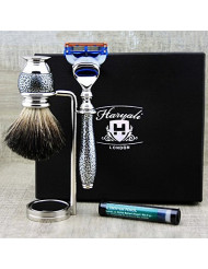 Men's Grooming Essentials: 3 Pc Shaving Set >Pure Black Badger Brush, 5 Edge Cartridge Razor & Chrome Plated Dual Stand