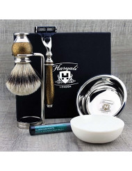 Haryali London 6 Pc Mens Grooming & Shaving Kit 3 Edge Razor With Silver Tip Badger Hair Shaving Brush, Stand, Soap, Bowl and Alum Perfect Set For Men