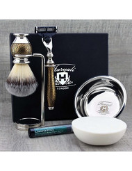 Haryali London Mens Grooming & Shaving Kit 3 Edge Razor With Synthetic Badger Hair Shaving Brush, Stand, Soap, Bowl and Alum Perfect Set For Men