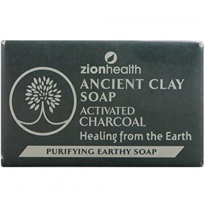 Zion Health Ancient Clay Soap Activated Charcoal, 6 Oz