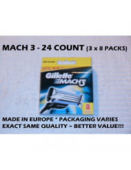 Gillette Mach 3 - 24 Count (3 x 8 Pack)