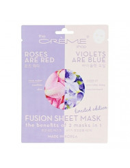 The Creme Shop Korean Skincare Beauty Full Facial Advanced Sheet Daily Natural Essence Soothing easy-to-use - Fusion Sheet Mask the benefits of 2 masks in 1 (Roses are red N Violets are blue)