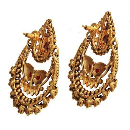 storeindya Indian Ethnic Jewelry Graceful Copper Plated Teardrop Dangle Earrings Set Adorned with Stones Jewelry Gift for Her