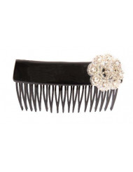 Caravan Hand Decorated Over Lapping Comb with Crystal Stones and Bugle Beads Flower Design, Black, .65 Ounce