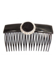 Caravan Hand Decorated French Over Lapping Comb with X-Large Jet Pearl Swarovski Crystal Stones, Black, .65 Ounce