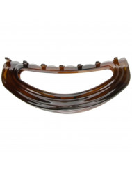 Caravan Hand Decorated French Ribbon Look Tortoise Shell Barrette with Flat Swarovski Crystal Stone, Large, .65 Ounce