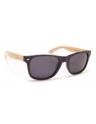 Nylon front with natural Bamboo temples - Woodie m.blk/bamboo/gray
