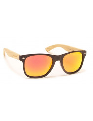 Nylon front with natural Bamboo temples - Woodie m.blk/bamboo/red mirrror