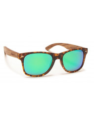 Nylon front with natural Walnut temples - Woodie m.tort/zebrawood/green mirror