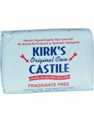 Kirk's Natural Soap Bar - Coco Castile - Fragrance Free - 3 Count - 4 oz