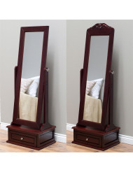 Full Length Tilting Cheval Mirror in Cherry Wood Finish with Storage Drawer