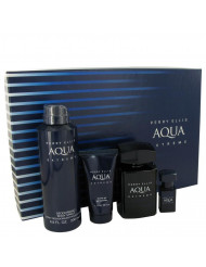 Perry Ellis Aqua Extreme Cologne, Gift Set - 3.4 oz Eau De Toilette Spray + .25 oz Mini EDT Spray + 6.8 oz Body Spray + 1.7 oz Shower Gel