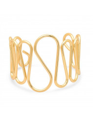 Laides 18k gold plated stainless steel wavy cuff bracelet
