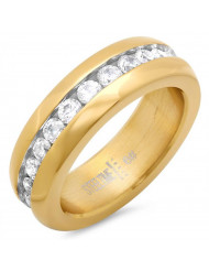 Ladies 18k gold plated stainless steel simulated diamond eternity band ring