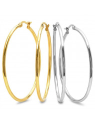 Set of 2 stainless steel and 18kt gold plated 50mm hoop earrings