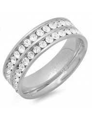 Ladies stainless steel double row band ring with simulated diamonds