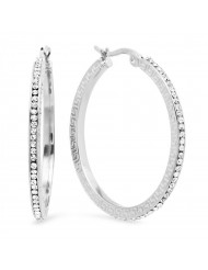 Ladies stainless steel and simulated diamonds hoop earrings with greek key accents