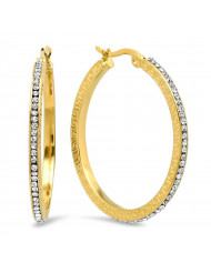 Ladies 18k gold plated stainless steel and simulated diamonds hoop earrings with greek key accents