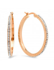 Ladies 18k rose gold plated stainless steel and simulated diamonds hoop earrings with greek key accents