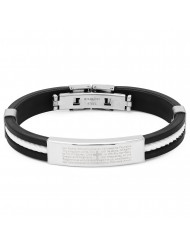 "Black And White Rubber Bracelet With ""our Father"" Accent"