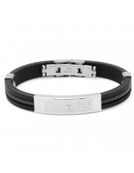 "Black Rubber Bracelet With ""our Father"" Accent"