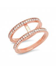 Ladies 18k rose gold plated stainless steel midi ring with simulated diamonds
