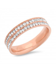 Ladies 18k rose gold plated stainless steel simulated diamond eternity band midi rings